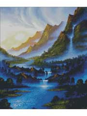 Blue River Dawn Cross Stitch Pattern