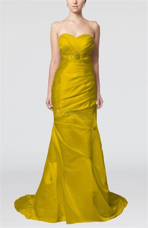 Yellow Classic Outdoor Fit n Flare Sleeveless Satin Court