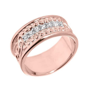Men's 14k Rose Gold 8 mm Celtic Knot Band 7 Stone Diamond