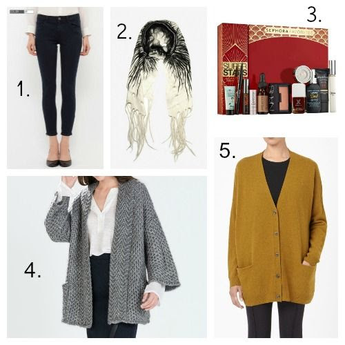 Uniqlo Ultra Stretch Jeans - Taiana Scarves - Sephora Favorites Superstars - Zara Cardigan - COS Cardigan