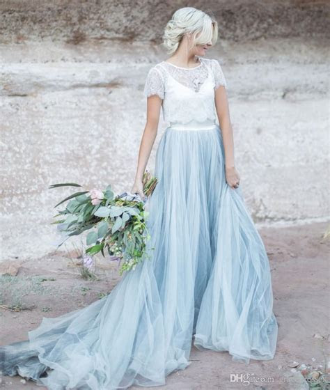 Discount Light Blue Wedding Gown White Lace Sheer