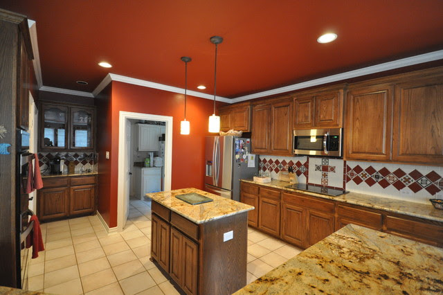 Fired Brick (Red) Kitchen, Faux Leather Bar, Urbane Bronze Mantle ...