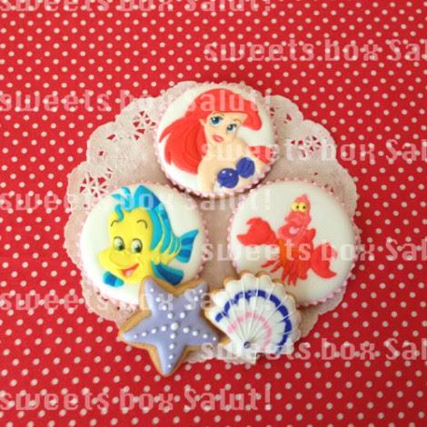 リトルマーメイドキャラのお誕生日用アイシングクッキー
