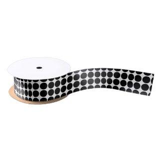 Black Polka Dots on White Satin Ribbon