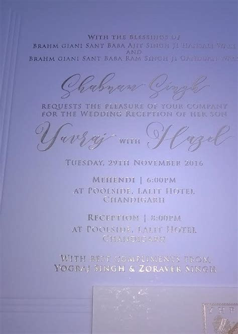 Exclusive: Yuvraj Singh Hazel Keech Wedding Card And Sweet