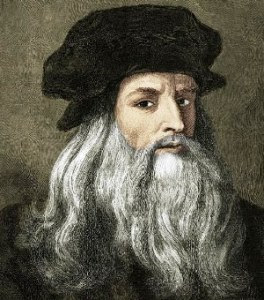 ACYGPH Leonardo da Vinci, 15.4.1452 - 2.5.1519, Italian painter and sculptor, engraving after self portrait, 19th century, later colour