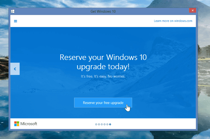Reserve Windows 10 upgrade today