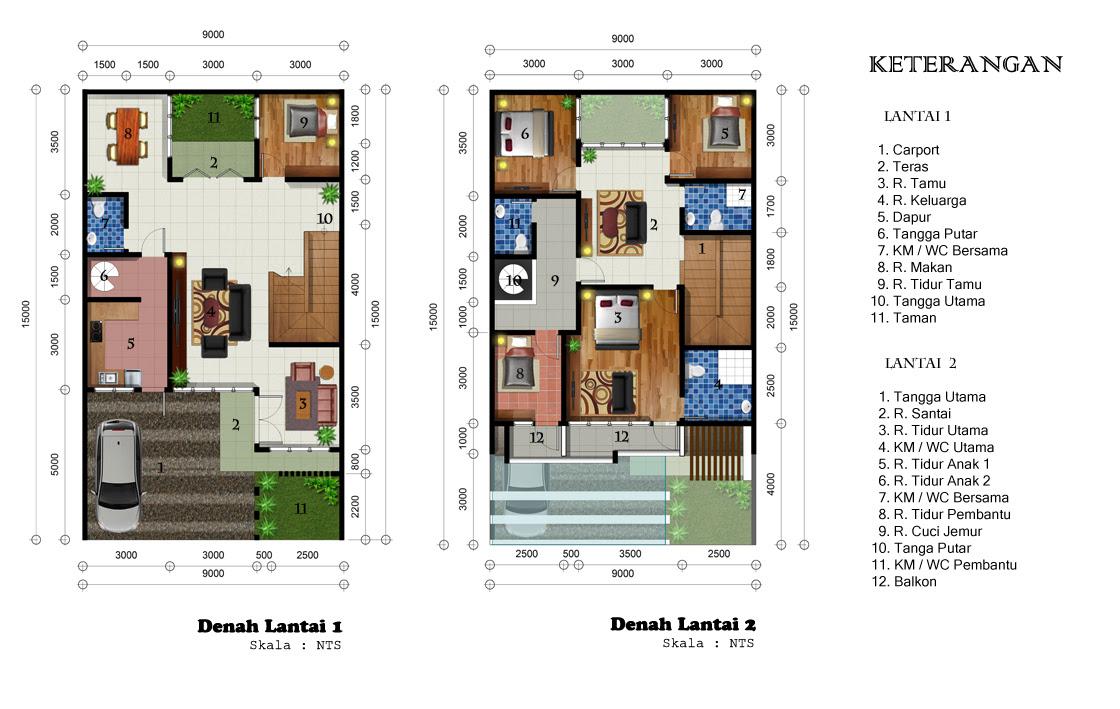 Denah Rumah 2 Lantai 9 X 13 Top Rumah