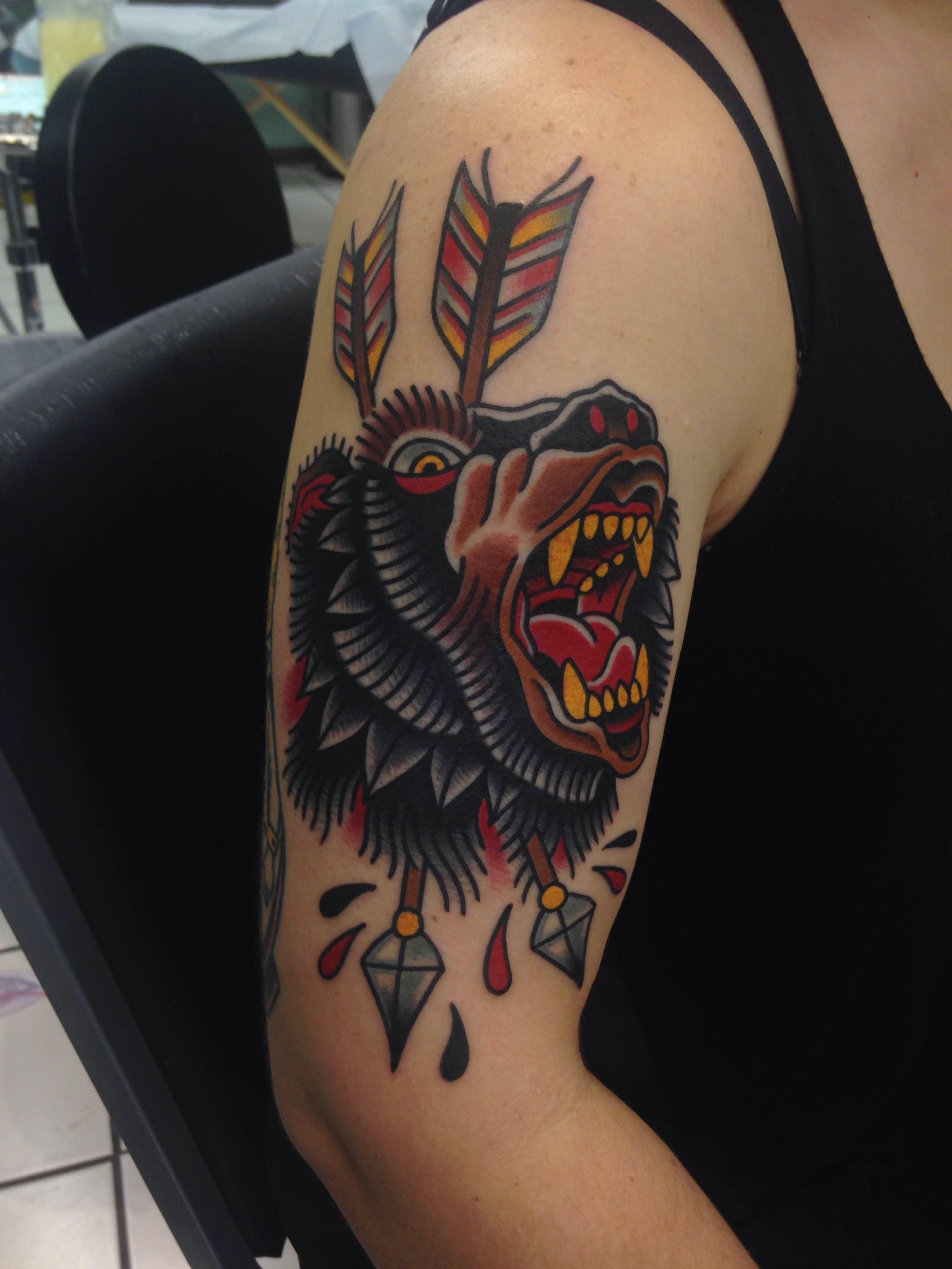 My New Bear Attack By Jonathan Montalvo Classic Tattoos San Marcos