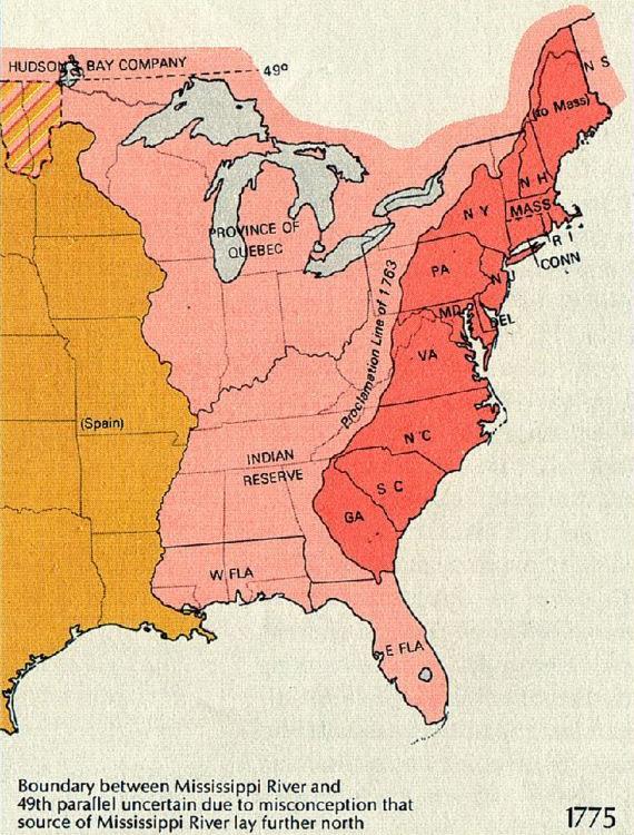 Mapa de la división entre los territorios coloniales y la reserva india, según se diseñó en el Decreto Real de 1763.