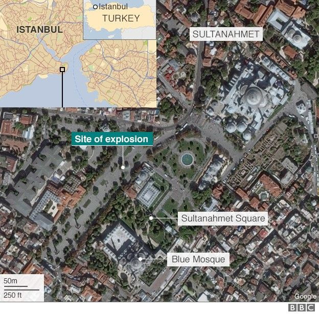 Map of Sultanahmet area