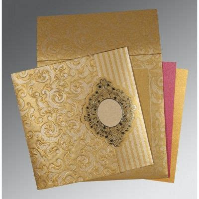 Latest and elegant Hindu wedding cards made from Golden