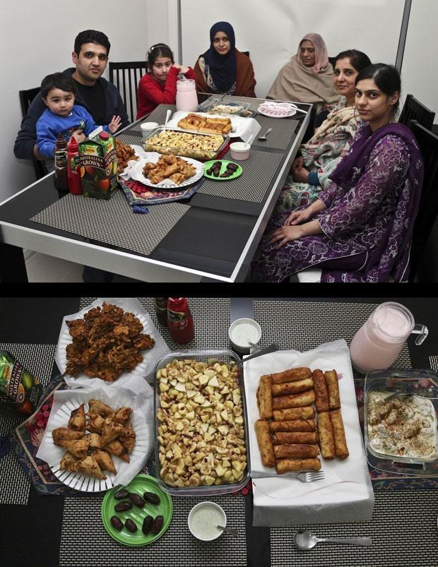Família muçulmana se reúne para o Iftar em Sydney, na Austrália (Foto: Rob Griffith/AP)