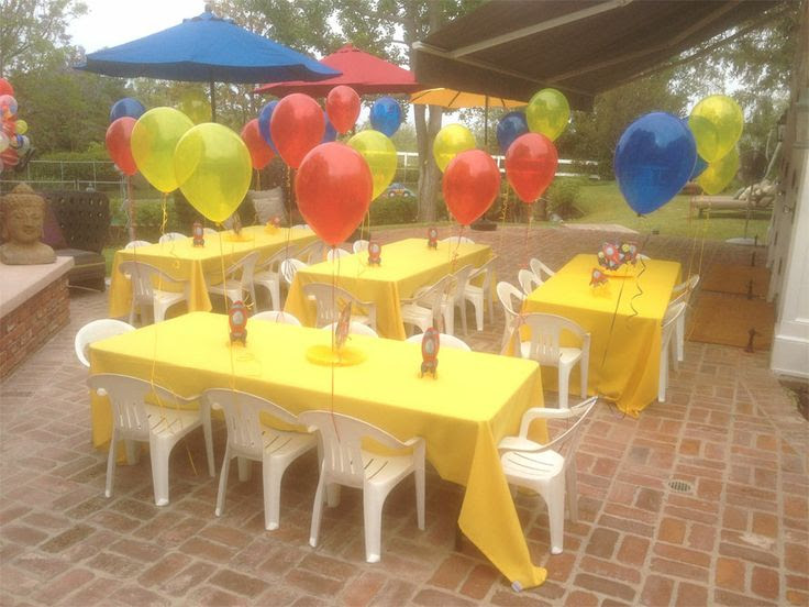 Back Yard Party Table with Umbrellas