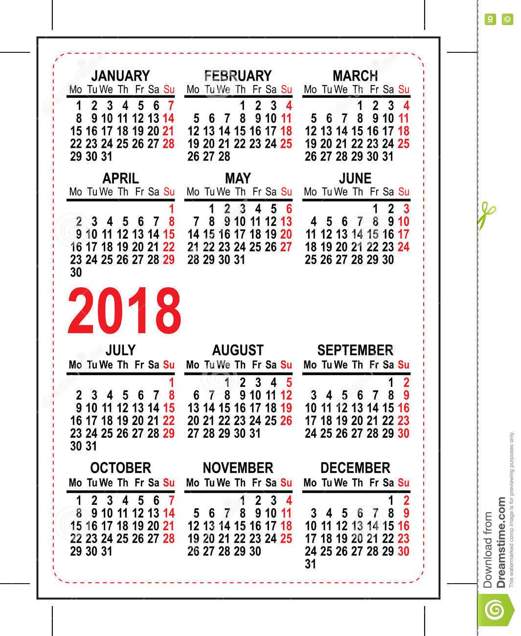 2018 pocket calendar grid pocket calendar illustration vector format 75145827 rnUGaY