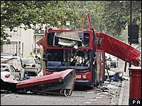 Wreckage of bombed bus at Tavistock Square