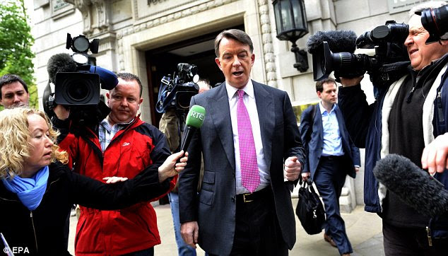 Plotting: Lord Mandelson today as Gordon Brown's political career hangs in the balance
