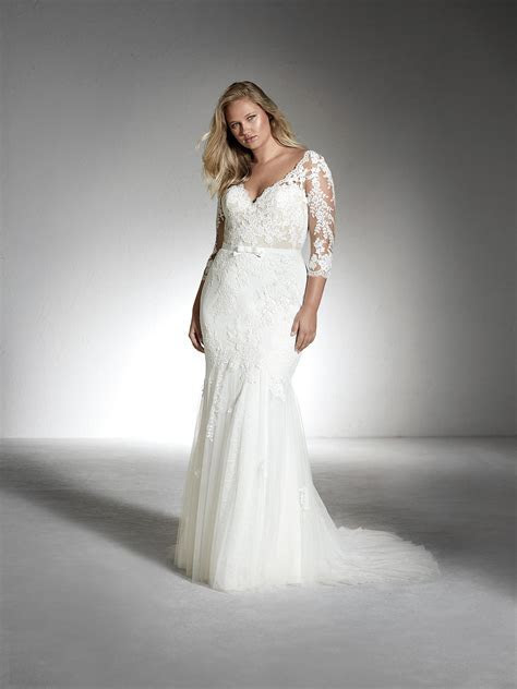 FE PLUS V neck plus size wedding dress with rhinestones