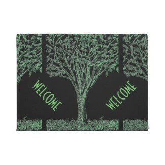 Welcome Doormat with Tree Sketch Design