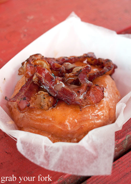 bacon donut at gourdough's big fat donuts food truck austin texas