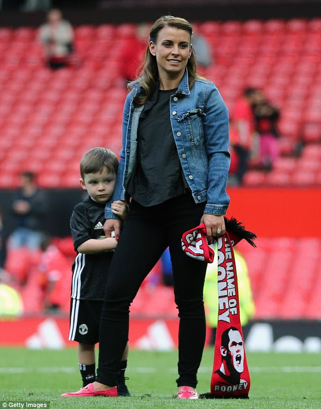 Having a ball: Coleen, pictured with son Klay, is a regular fixture at her husband's matches