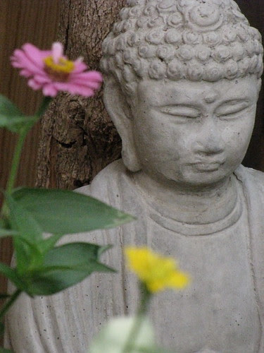 Buddha and Zinnias