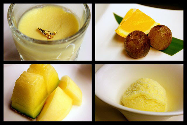 Desserts - Custard Pudding, Orange Jelly with Kyoho Grapes, Japanese melon and peach, Melon ice cream