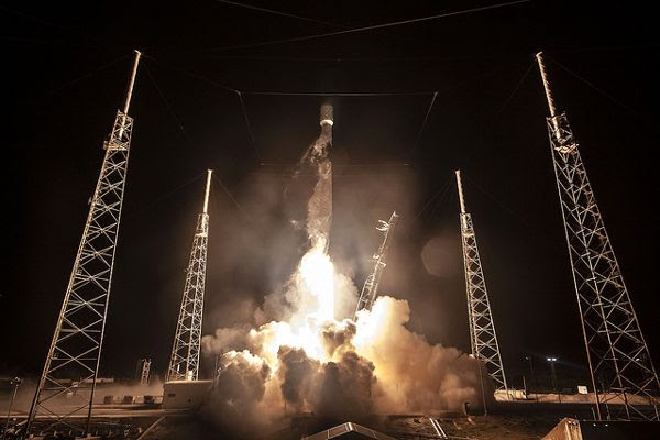 A Falcon 9 rocket carrying Israel's Beresheet lunar lander (and the Indonesian communications satellite Nusantara Satu) lifts off from Cape Canaveral Air Force Station in Florida...on February 21, 2019.