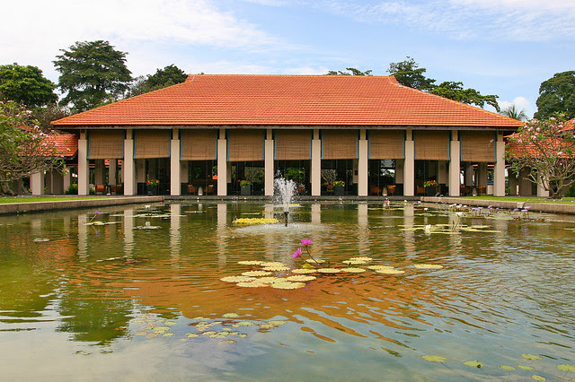 The Pavilion overlooks lush water ponds