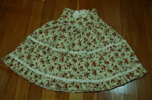 Lolita Closet Count! Skirts: Cream-Yellow - Bodyline Floral High Waisted Skirt