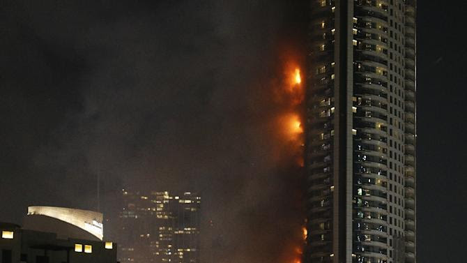 The Address Downtown hotel burns as a huge fire rips through the building near the world's tallest tower, in Dubai