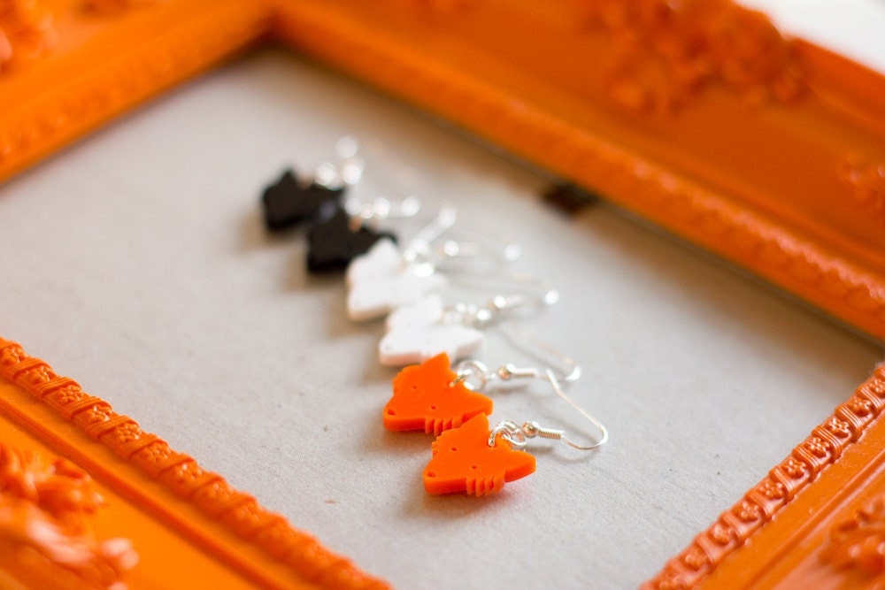 Fox Earrings Laser Cut Plastic Orange wildlife animal creature