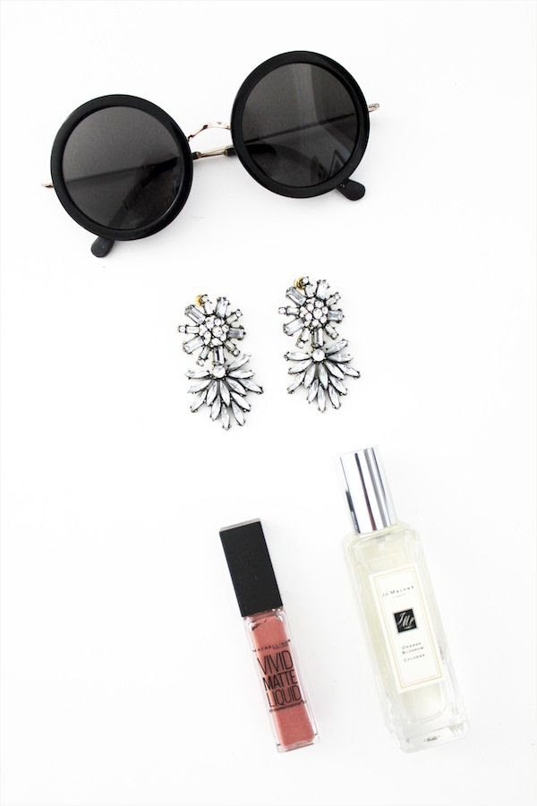 Le Fashion Blog Day Date Style The Row Round Sunglasses Bauble Bar Statement Drop Earrings Maybelline Matte Lip Gloss Jo Malone Orange Blossom Perfume