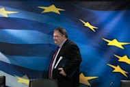 Greece's Finance Minister Evangelos Venizelos arrives for a news conference at a ministry hall in Athens, February 21, 2012.    REUTERS/Yiorgos Karahalis
