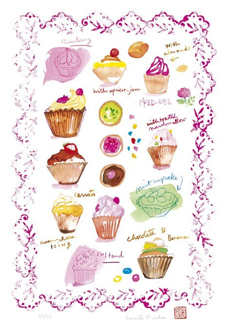 Cupcake Collection print by lucileskitchen, Food Kitchen prints, illustration prints, fun prints