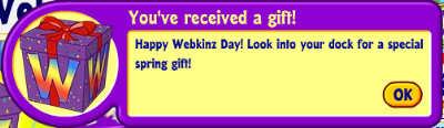 Webkinz Day notification