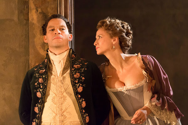 """Janet McTeer, right, and Dominic West in a revival of """"Les Liaisons Dangereuses"""" at the Donmar Warehouse."""