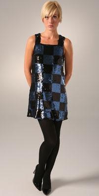 Alice + Olivia Sequin Check Shift Dress