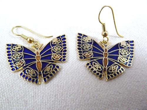 80s Cloisonne Butterfly Earrings