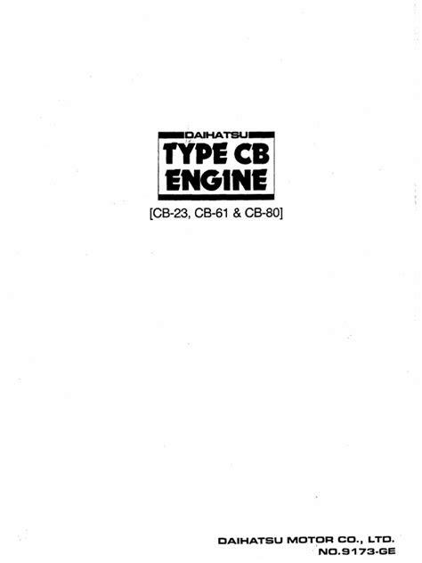 Engine Manual for daihatsu cb series | Motor Oil | Nut