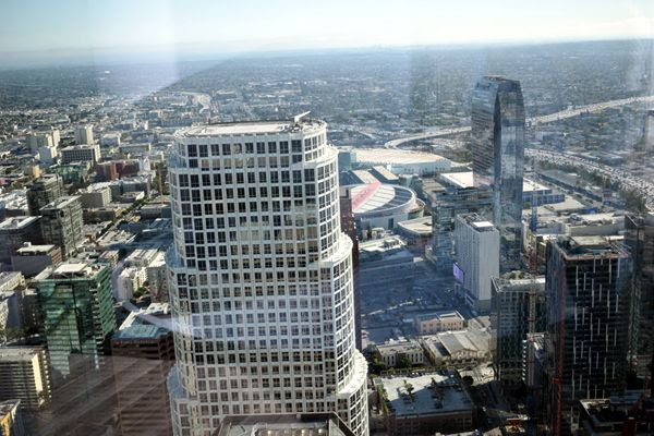 STAPLES Center is visible in this snapshot that was taken from the 70th floor of the Wilshire Grand Center...on July 26, 2017.