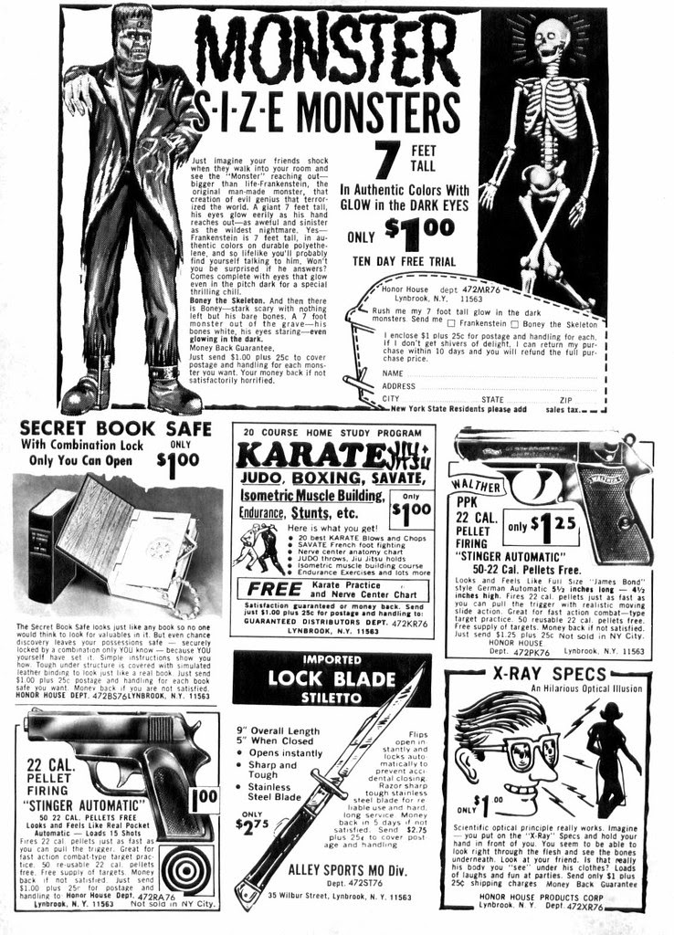comic book ad switchblade knife frankenstein skeleton monster bb gun x-ray specs