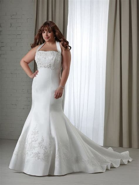 Elegant Simple Plus Size White Wedding Dresses