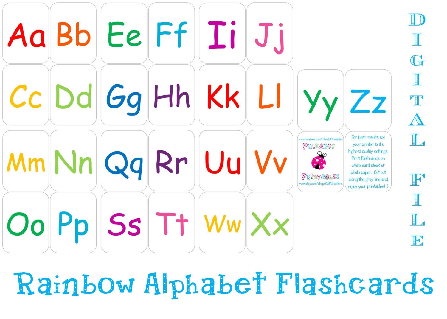 Printable Alphabet Flashcards Instant Download by pdotprintables