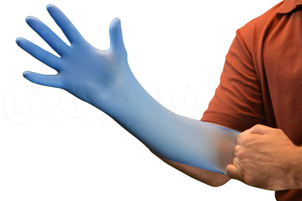 Ammex X3D Xtreme Blue Nitrile Glove, Latex Free, Disposable ...