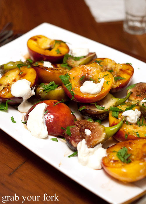 chargrilled nectarines and figs with creme fraiche
