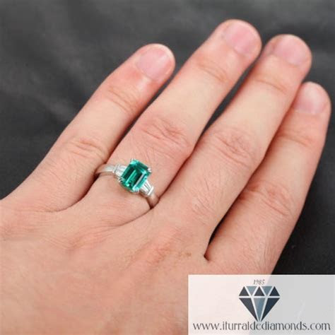 Emerald Cut Emerald Baguette Diamond Accent Engagement