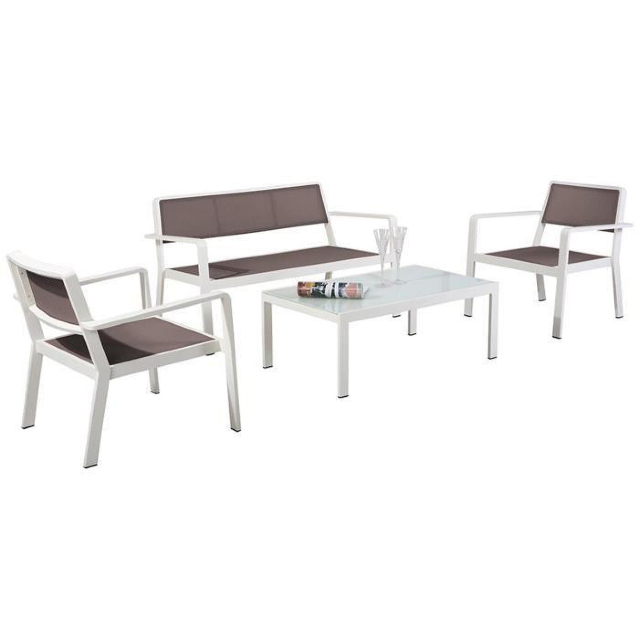 Ensemble Composé De 2 Fauteuils 1 Canapé 2 Places 1 Table Basse 100x60x38cm Taupe