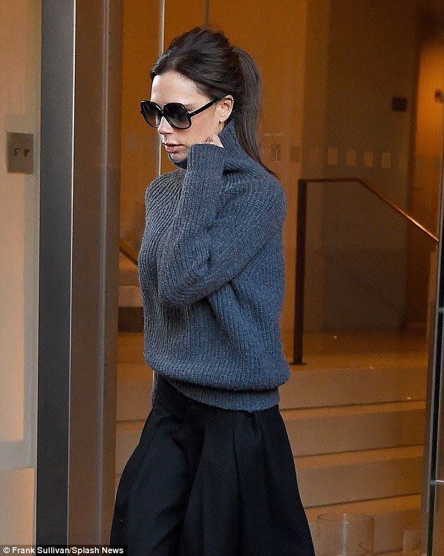 I DO have a left hand! Victoria Beckham made a point of showing off her left hand and bare fingers as she stepped out of her hotel in New York on Friday