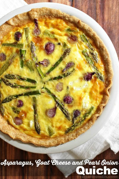 Asparagus, Goat Cheese and Pearl Onion Quiche #giveacluck #CleverGirls